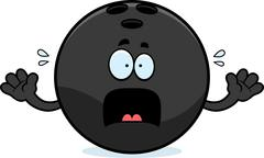 Stock Illustration of Scared Cartoon Bowling Ball