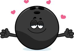 Cartoon Bowling Ball Hug - stock illustration