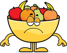 Stock Illustration of Sad Cartoon Bowl of Fruit