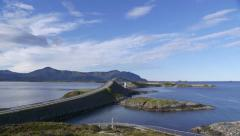 Atlantic Ocean Road famous bridge Norway pan left to right Stock Footage
