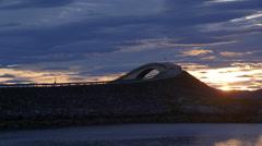 Atlantic Ocean Road famous bridge Norway sunrise Stock Footage