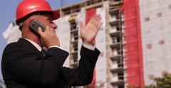 Construction Site Manager Phone Call Architect Engineer Construction Development Stock Footage