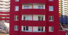 Flight bottom-up multi-storey house near the balcony Arkistovideo