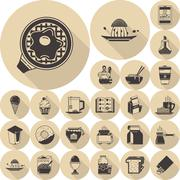 Food brown flat icons vector collection - stock illustration