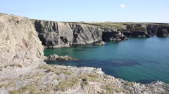 Clear blue sea UK coast in North Cornwall in summer Stock Footage