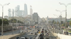 Stock Video Footage of Panorama of traffic on the streets of Moscow in real time.