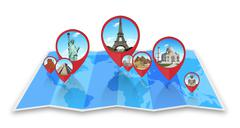 Monuments of the world on a map Stock Illustration
