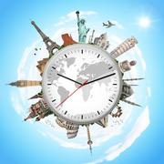 Stock Illustration of illustration of a clock with famous monuments