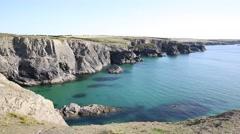 Beautiful English coast between Treyarnon and Porthcothan north Cornwall Stock Footage