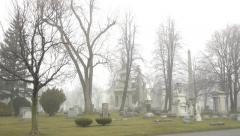 Cemetary in Fog - stock footage