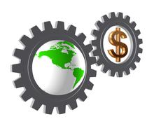 gear-wheels with world globe and dollar - stock illustration
