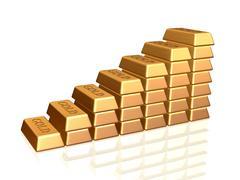Golden bullions staircase Stock Illustration
