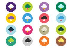 Attention warning cloud sign icons set Stock Illustration
