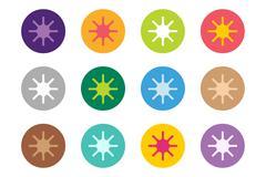 Sun burst, star or snowflakes vector logo icon set Stock Illustration