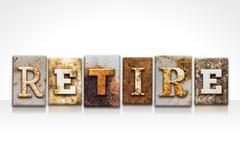 Retire Letterpress Concept Isolated on White - stock illustration