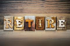 Retire Concept Letterpress Theme - stock illustration