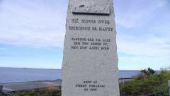 Atlantic Ocean Road Norway monument of lost lives at sea Stock Footage