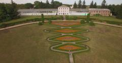 Aerial filming in picturesque and romantic dendrological park Stock Footage