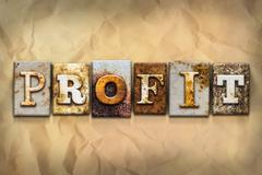 Profit Concept Rusted Metal Type - stock illustration
