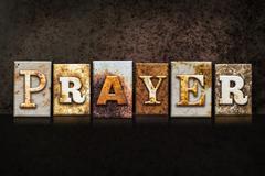 Prayer Letterpress Concept on Dark Background Stock Illustration