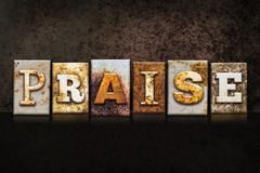 Praise Letterpress Concept on Dark Background Stock Illustration