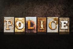Police Letterpress Concept on Dark Background - stock illustration