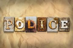 Police Concept Rusted Metal Type - stock illustration