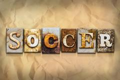 Soccer Concept Rusted Metal Type - stock illustration
