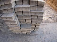 The process of laying paving covering the street - stock photo