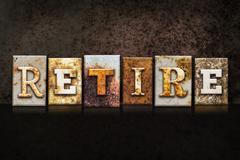 Retire Letterpress Concept on Dark Background - stock illustration