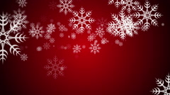 Animated Falling Snow Flakes on a Red Background Stock Footage