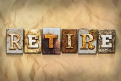 Retire Concept Rusted Metal Type Stock Illustration