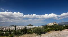 Panoramic view of the city of Athens, Greece - stock photo