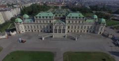 Flying above the majestic Belvedere in Vienna, Austria Stock Footage