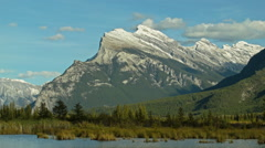 Mt Rundle over Vermillion Lakes Stock Footage