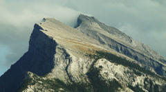 Telephoto shot of Mt Rundle Stock Footage