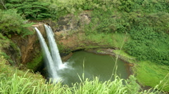 Tropical Wailua Falls Stock Footage