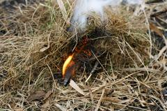 Burning match in the grass Stock Photos