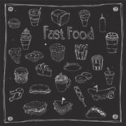 Fast Foods draw 25 Item - stock illustration