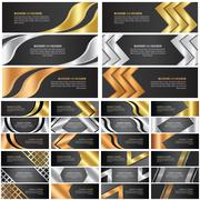 abstract gold, silver and bronze banner set - stock illustration