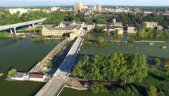 Scenic Fox River, Waterfront Buildings, Damn, Bridge Appleton Wisconsin Stock Footage