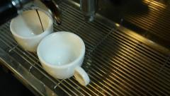 Professional espresso machine brewing a coffee. Stock Footage