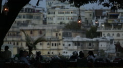 Cafe on lake Pichola Udaipur - stock footage