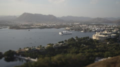 Viewpoint Udaipur and Lake Pichola - stock footage