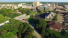 Scenic Appleton, Wisconsin, Downtown Buildings Aerial Flyover - stock footage