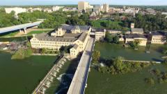 Scenic Fox River, Waterfront Buildings, Damn, Bridge Appleton Wisconsin - stock footage