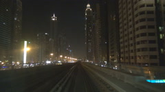 Stock Video Footage of POV Point of view amazing modern luxury Dubai downtown tall tower building night