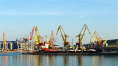 tall industrial cranes - stock footage