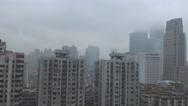 Stock Video Footage of Aerial view Guangzhou financial district skyscraper dangerous rain cloud typhoon