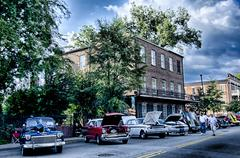 August 22 York SC - vendors attractions and classic car show at annual summer - stock photo